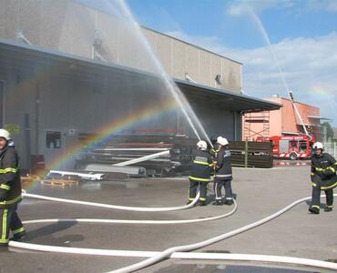 Gasilska vaja_požar na objektih ZORA in TEHMAX
